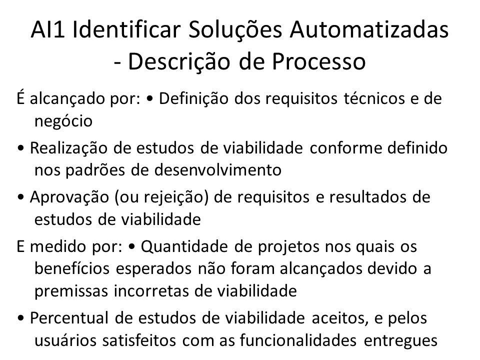 AI1 Identificar Soluções Automatizadas - Descrição de Processo É alcançado por: Definição dos requisitos técnicos e de negócio Realização de estudos de viabilidade conforme definido nos padrões de desenvolvimento Aprovação (ou rejeição) de requisitos e resultados de estudos de viabilidade E medido por: Quantidade de projetos nos quais os benefícios esperados não foram alcançados devido a premissas incorretas de viabilidade Percentual de estudos de viabilidade aceitos, e pelos usuários satisfeitos com as funcionalidades entregues