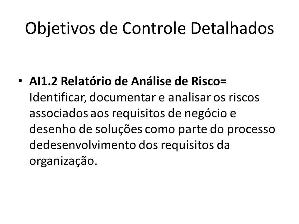 Objetivos de Controle Detalhados AI1.2 Relatório de Análise de Risco= Identificar, documentar e analisar os riscos associados aos requisitos de negócio e desenho de soluções como parte do processo dedesenvolvimento dos requisitos da organização.