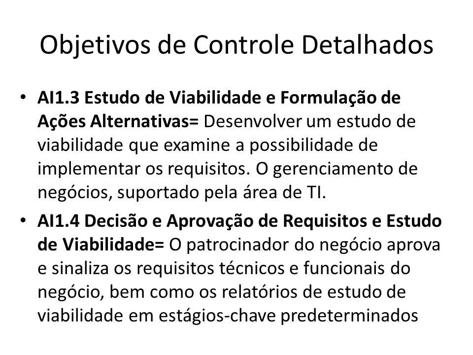 Objetivos de Controle Detalhados AI1.3 Estudo de Viabilidade e Formulação de Ações Alternativas= Desenvolver um estudo de viabilidade que examine a possibilidade de implementar os requisitos.
