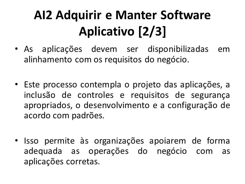 AI2 Adquirir e Manter Software Aplicativo [2/3] As aplicações devem ser disponibilizadas em alinhamento com os requisitos do negócio.