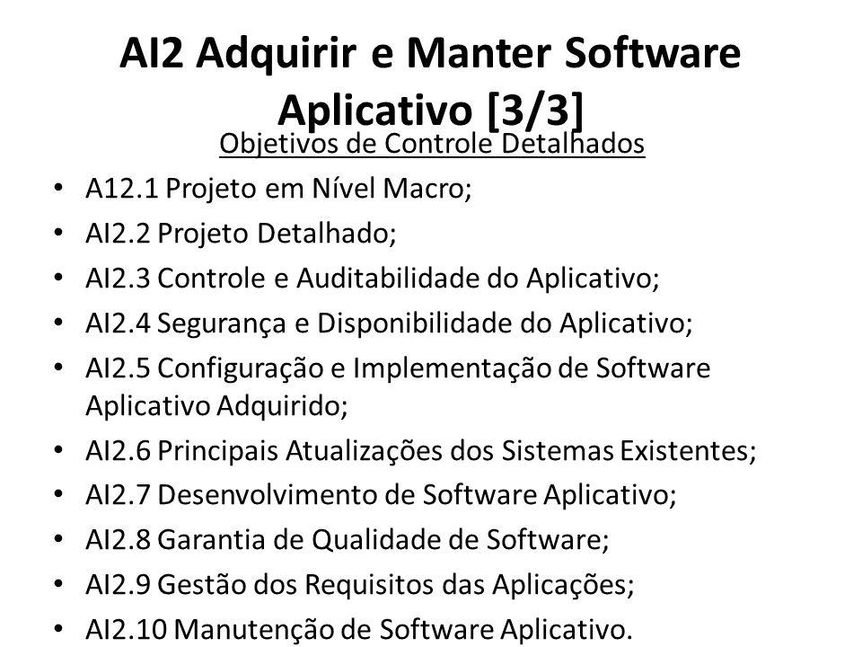 AI2 Adquirir e Manter Software Aplicativo [3/3] Objetivos de Controle Detalhados A12.1 Projeto em Nível Macro; AI2.2 Projeto Detalhado; AI2.3 Controle e Auditabilidade do Aplicativo; AI2.4 Segurança e Disponibilidade do Aplicativo; AI2.5 Configuração e Implementação de Software Aplicativo Adquirido; AI2.6 Principais Atualizações dos Sistemas Existentes; AI2.7 Desenvolvimento de Software Aplicativo; AI2.8 Garantia de Qualidade de Software; AI2.9 Gestão dos Requisitos das Aplicações; AI2.10 Manutenção de Software Aplicativo.