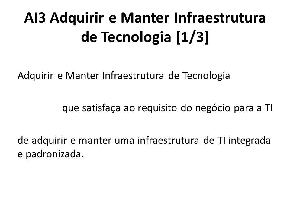 AI3 Adquirir e Manter Infraestrutura de Tecnologia [1/3] Adquirir e Manter Infraestrutura de Tecnologia que satisfaça ao requisito do negócio para a TI de adquirir e manter uma infraestrutura de TI integrada e padronizada.