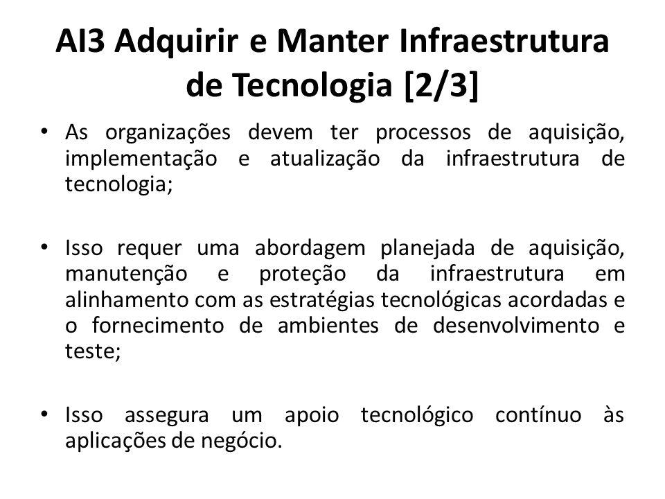 AI3 Adquirir e Manter Infraestrutura de Tecnologia [2/3] As organizações devem ter processos de aquisição, implementação e atualização da infraestrutura de tecnologia; Isso requer uma abordagem planejada de aquisição, manutenção e proteção da infraestrutura em alinhamento com as estratégias tecnológicas acordadas e o fornecimento de ambientes de desenvolvimento e teste; Isso assegura um apoio tecnológico contínuo às aplicações de negócio.