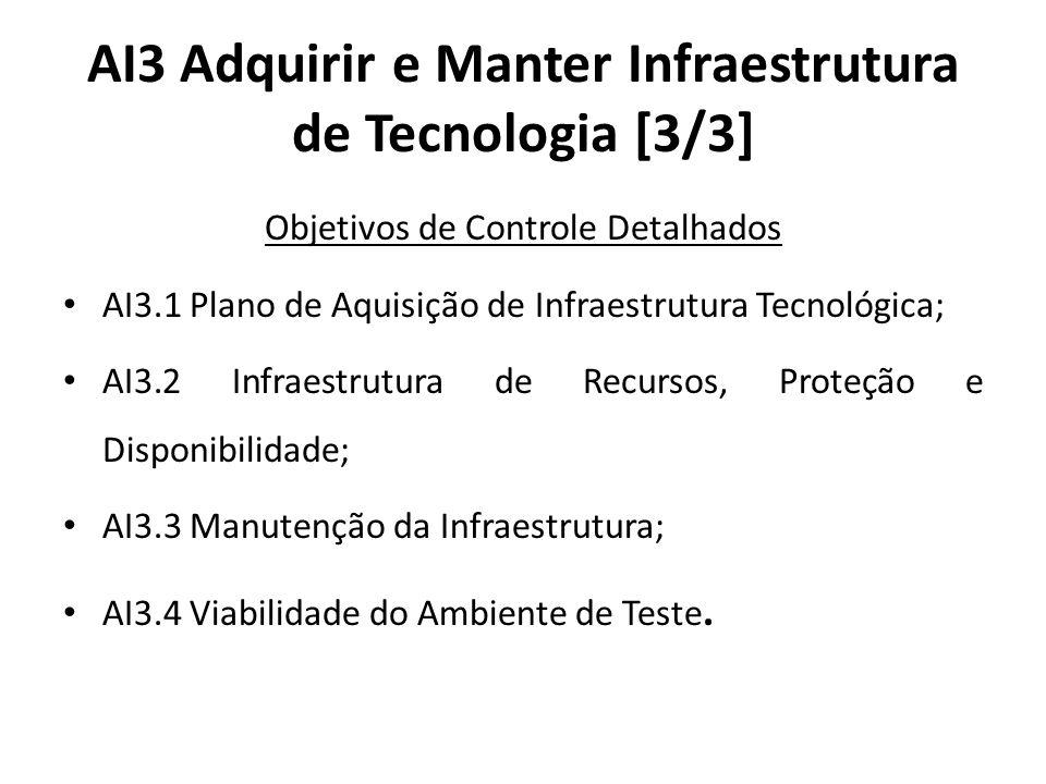 AI3 Adquirir e Manter Infraestrutura de Tecnologia [3/3] Objetivos de Controle Detalhados AI3.1 Plano de Aquisição de Infraestrutura Tecnológica; AI3.2 Infraestrutura de Recursos, Proteção e Disponibilidade; AI3.3 Manutenção da Infraestrutura; AI3.4 Viabilidade do Ambiente de Teste.