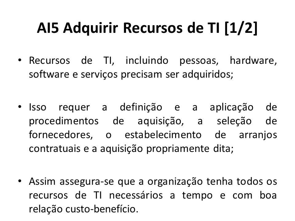 AI5 Adquirir Recursos de TI [1/2] Recursos de TI, incluindo pessoas, hardware, software e serviços precisam ser adquiridos; Isso requer a definição e a aplicação de procedimentos de aquisição, a seleção de fornecedores, o estabelecimento de arranjos contratuais e a aquisição propriamente dita; Assim assegura-se que a organização tenha todos os recursos de TI necessários a tempo e com boa relação custo-benefício.