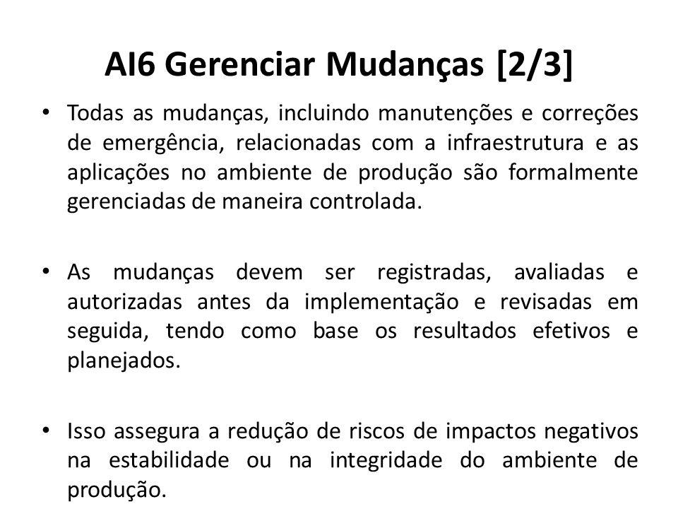 AI6 Gerenciar Mudanças [2/3] Todas as mudanças, incluindo manutenções e correções de emergência, relacionadas com a infraestrutura e as aplicações no ambiente de produção são formalmente gerenciadas de maneira controlada.