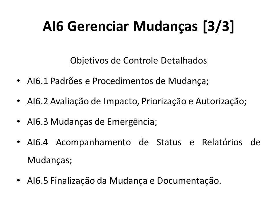 AI6 Gerenciar Mudanças [3/3] Objetivos de Controle Detalhados AI6.1 Padrões e Procedimentos de Mudança; AI6.2 Avaliação de Impacto, Priorização e Autorização; AI6.3 Mudanças de Emergência; AI6.4 Acompanhamento de Status e Relatórios de Mudanças; AI6.5 Finalização da Mudança e Documentação.