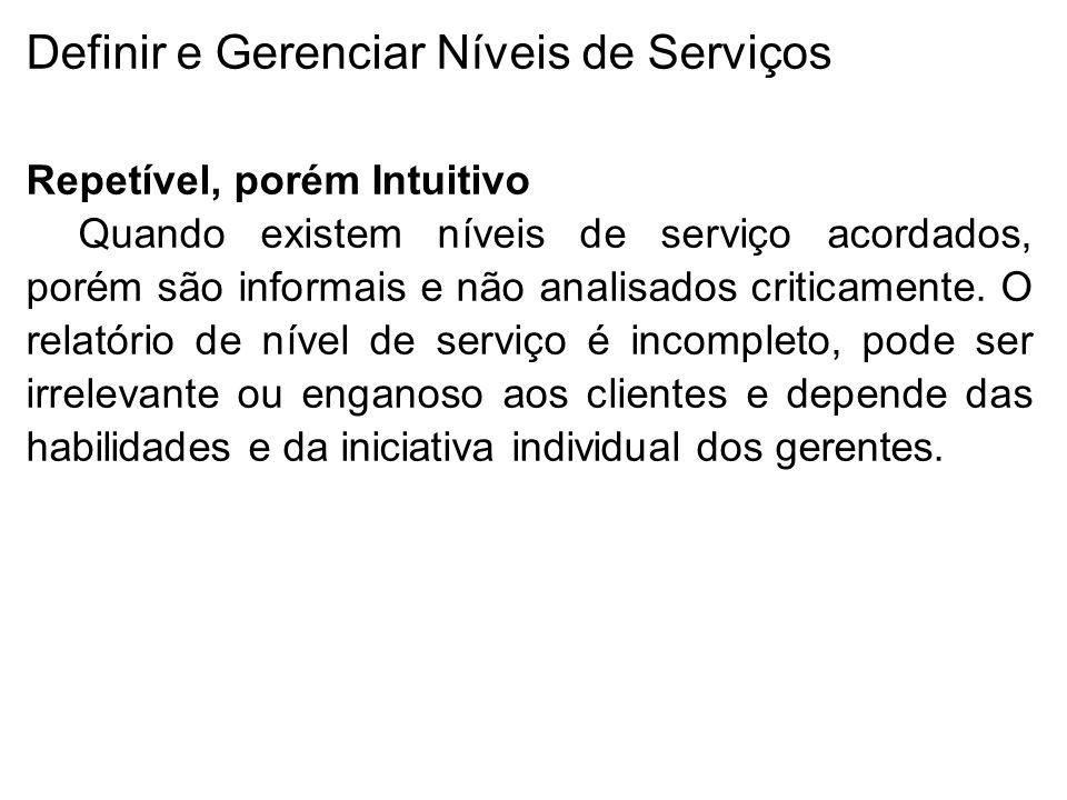 Definir e Gerenciar Níveis de Serviços Repetível, porém Intuitivo Quando existem níveis de serviço acordados, porém são informais e não analisados criticamente.