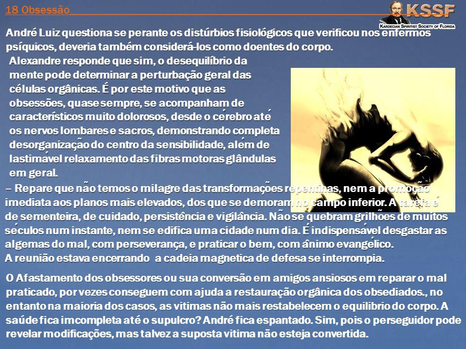 André Luiz questiona se perante os distúrbios fisiológicos que verificou nos enfermos psíquicos, deveria também considerá-los como doentes do corpo. A