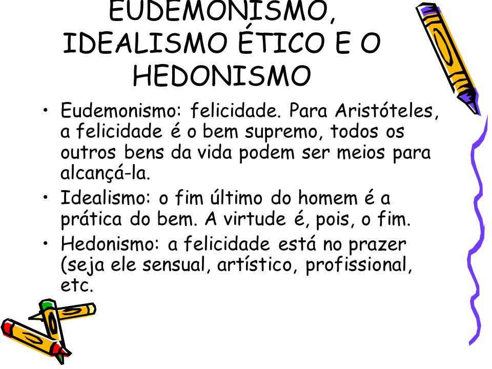 EUDEMONISMO, IDEALISMO ÉTICO E O HEDONISMO Eudemonismo: felicidade. Para Aristóteles, a felicidade é o bem supremo, todos os outros bens da vida podem