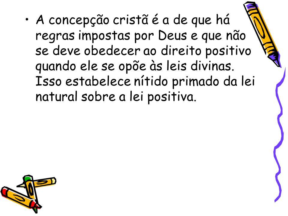 A concepção cristã é a de que há regras impostas por Deus e que não se deve obedecer ao direito positivo quando ele se opõe às leis divinas. Isso esta