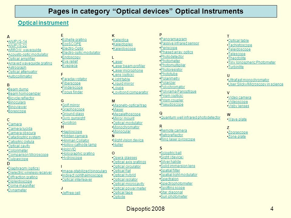 Dispoptic 20083 Wikipedia http://en.wikipedia.org/wiki/Category:Optical_devices Category:Optical devices A [ +] Astronomical observatories +Astronomic