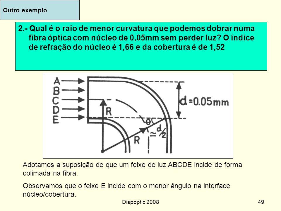 Dispoptic 200848....cont n1n1 n2n2 Substituindo na primeira eq: Sendo n 1 = 1,66 e n 2 = 1,56 O valor calculado de  1 é 42 o Em A: Em B: