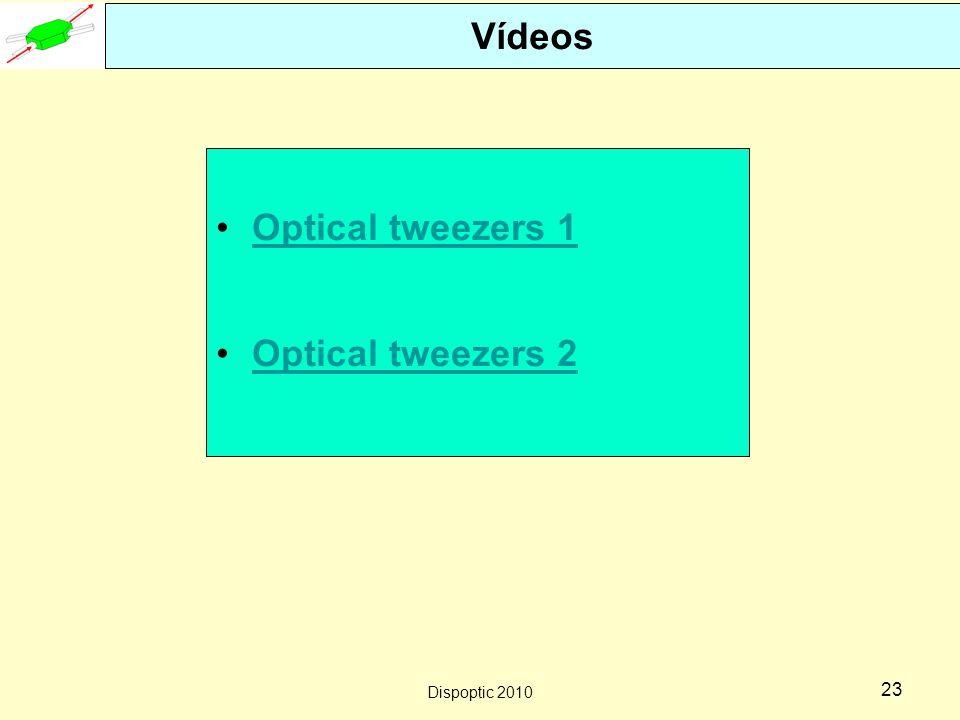 Dispoptic 2010 22 Pinças ópticas Figure 1a) Lateral TrappingFigure 1b) Axial Trapping Desde que a intensidade do feixe de laser apresenta um comportamento gaussiano na sua seção transversal, existem forças que empurram as partículas na direção de maior intensidade seja na transversal ou na longitudinal..