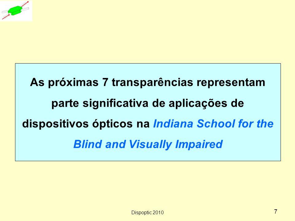 Dispoptic 2010 6 Lente composta como dispositivo ergonômico http://ergocab.com/merford_optical_device.html Sem dispositivo óptico Dor de cabeça, coluna,...