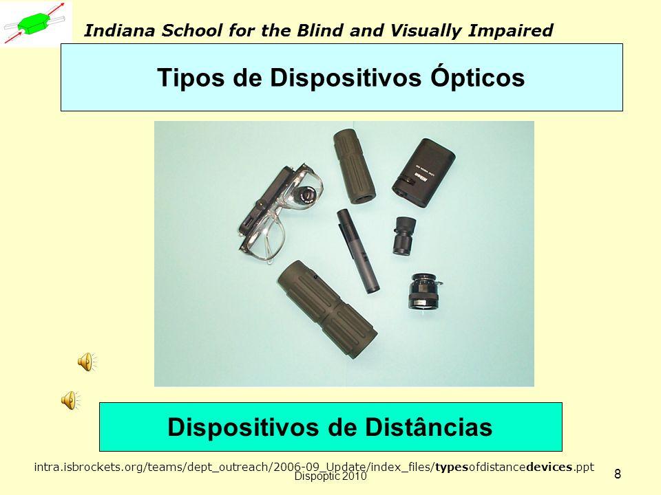 Dispoptic 2010 7 As próximas 7 transparências representam parte significativa de aplicações de dispositivos ópticos na Indiana School for the Blind and Visually Impaired