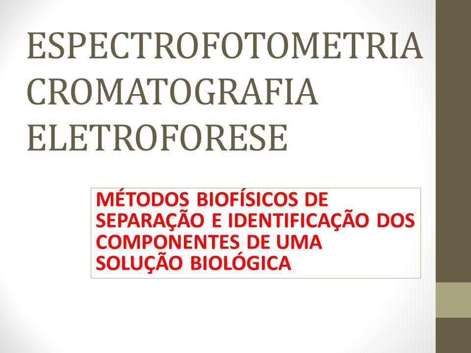 ESPECTROFOTOMETRIA CROMATOGRAFIA ELETROFORESE MÉTODOS BIOFÍSICOS DE SEPARAÇÃO E IDENTIFICAÇÃO DOS COMPONENTES DE UMA SOLUÇÃO BIOLÓGICA