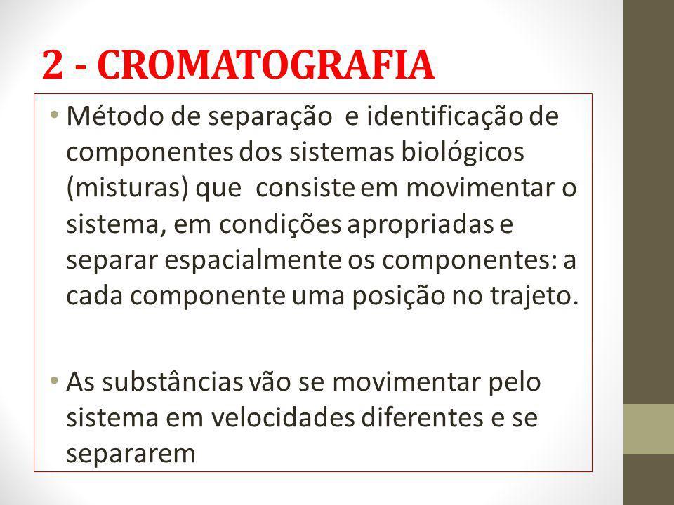 2 - CROMATOGRAFIA Método de separação e identificação de componentes dos sistemas biológicos (misturas) que consiste em movimentar o sistema, em condi