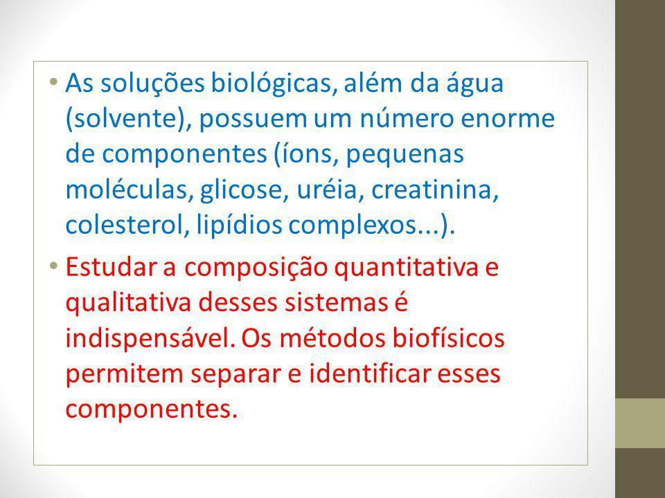As soluções biológicas, além da água (solvente), possuem um número enorme de componentes (íons, pequenas moléculas, glicose, uréia, creatinina, colest