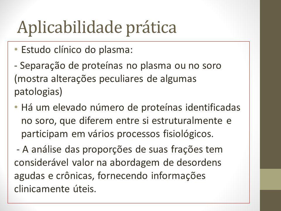 Aplicabilidade prática Estudo clínico do plasma: - Separação de proteínas no plasma ou no soro (mostra alterações peculiares de algumas patologias) Há