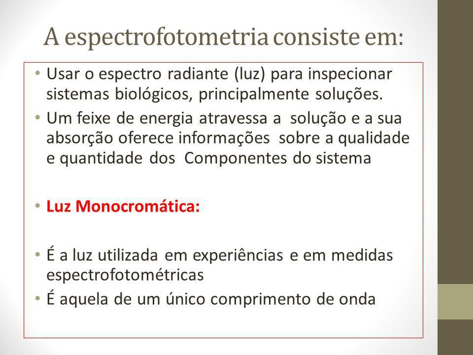 A espectrofotometria consiste em: Usar o espectro radiante (luz) para inspecionar sistemas biológicos, principalmente soluções. Um feixe de energia at