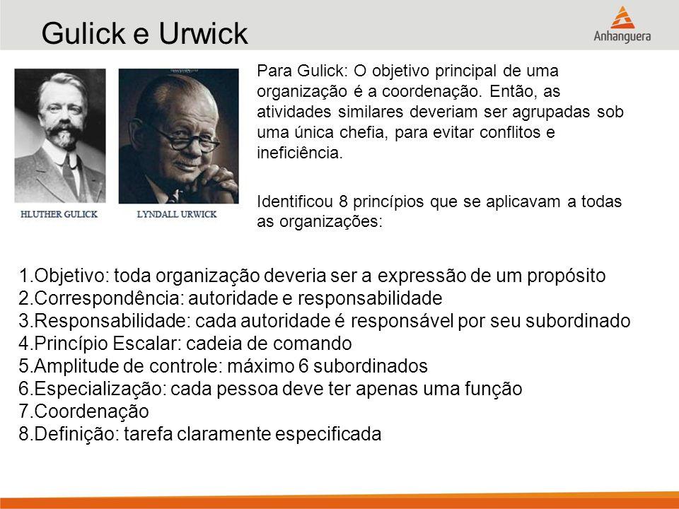 Gulick e Urwick Para Gulick: O objetivo principal de uma organização é a coordenação. Então, as atividades similares deveriam ser agrupadas sob uma ún