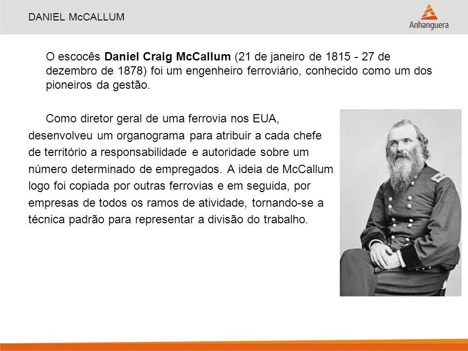 DANIEL McCALLUM O escocês Daniel Craig McCallum (21 de janeiro de 1815 - 27 de dezembro de 1878) foi um engenheiro ferroviário, conhecido como um dos