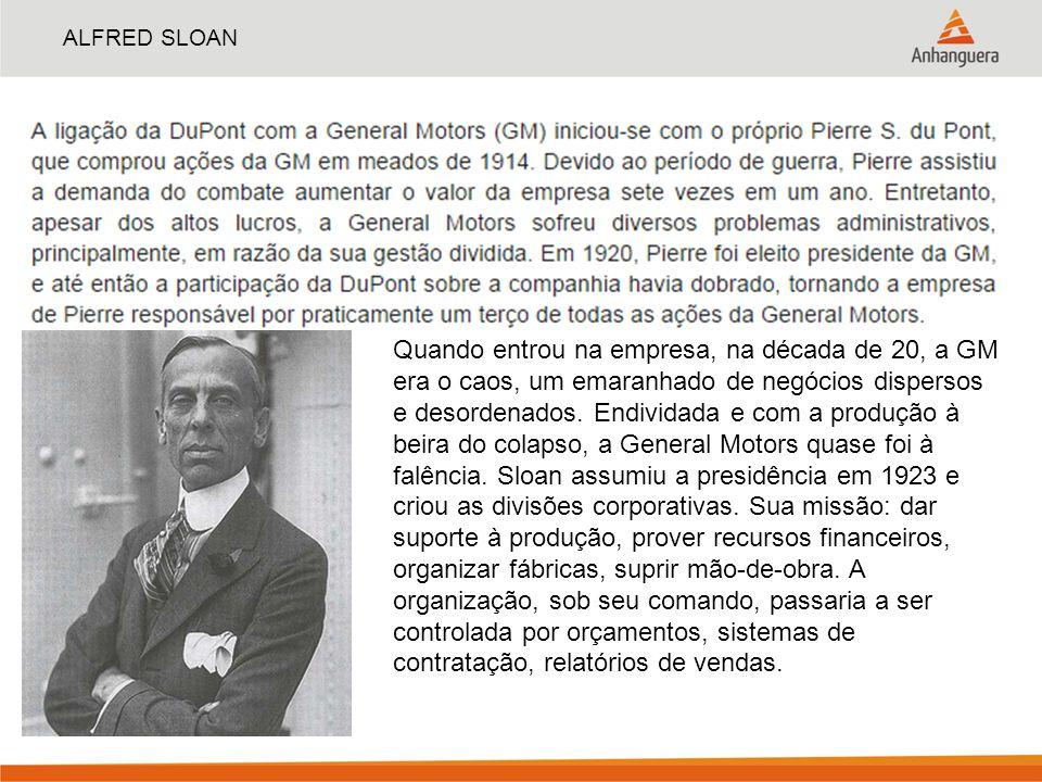 ALFRED SLOAN Quando entrou na empresa, na década de 20, a GM era o caos, um emaranhado de negócios dispersos e desordenados. Endividada e com a produç