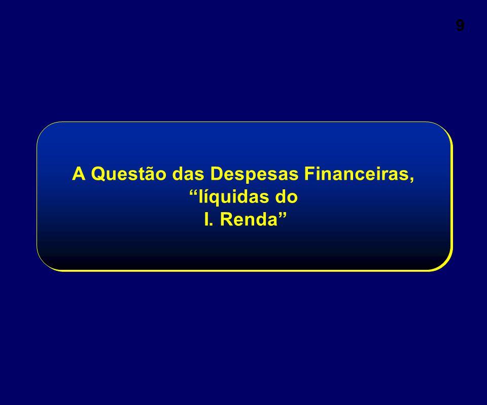 """9 A Questão das Despesas Financeiras, """"líquidas do I. Renda"""""""