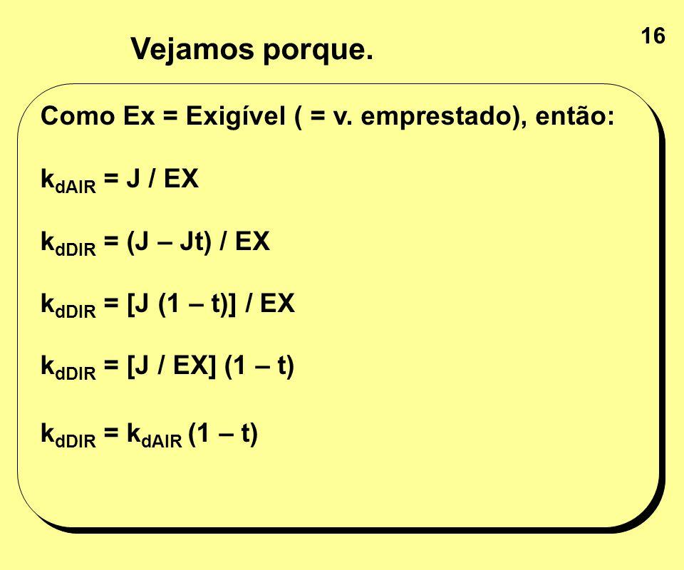 16 Como Ex = Exigível ( = v. emprestado), então: k dAIR = J / EX k dDIR = (J – Jt) / EX k dDIR = [J (1 – t)] / EX k dDIR = [J / EX] (1 – t) k dDIR = k