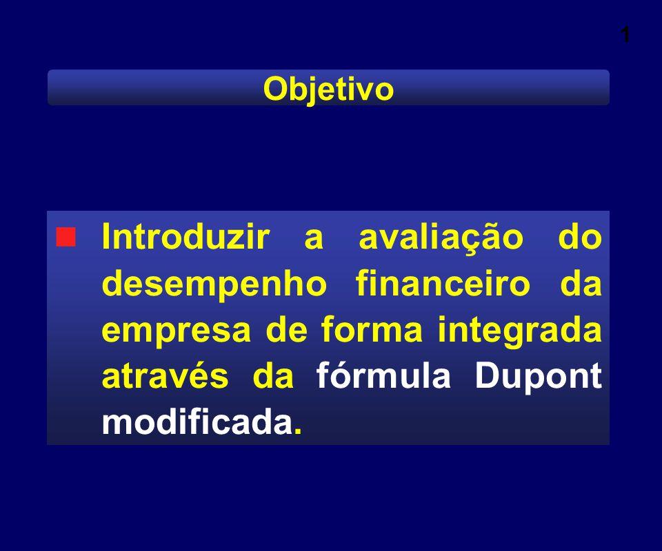 1 Objetivo Introduzir a avaliação do desempenho financeiro da empresa de forma integrada através da fórmula Dupont modificada.
