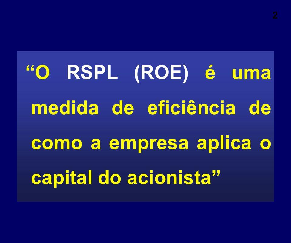 """2 """"O RSPL (ROE) é uma medida de eficiência de como a empresa aplica o capital do acionista"""""""