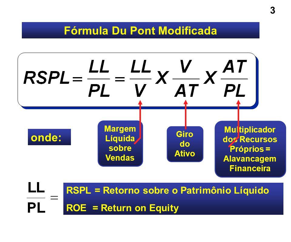Fórmula Du Pont Modificada onde: Giro do Ativo RSPL = Retorno sobre o Patrimônio Líquido ROE = Return on Equity Multiplicador dos Recursos Próprios =
