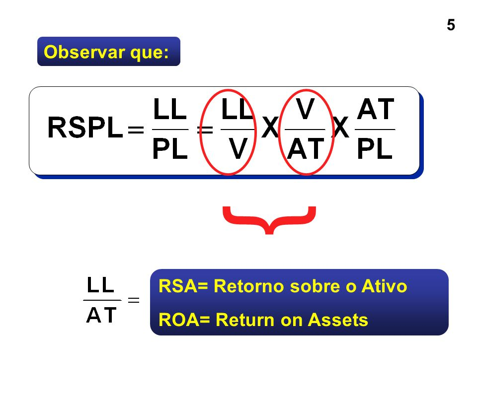 6 RSA = Retorno Sobre os Ativos O RSA (ROA) é a medida da eficiência com que a companhia aloca e administra os recursos dos acionista em relação ao total de recursos aplicados.