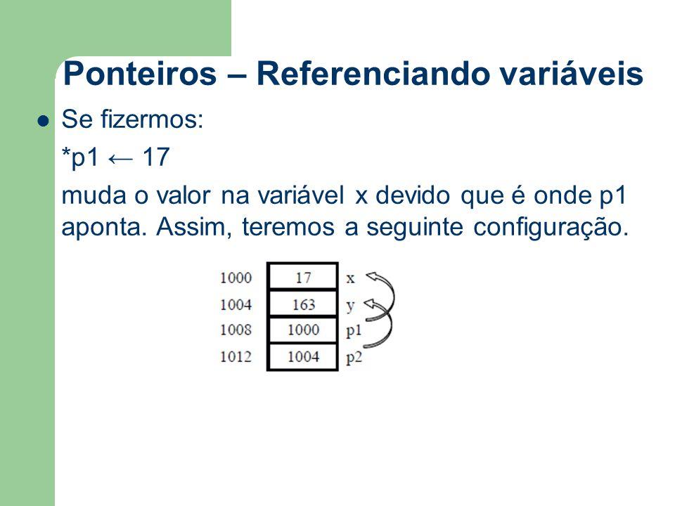 Ponteiros – Referenciando variáveis Se fizermos: *p1 ← 17 muda o valor na variável x devido que é onde p1 aponta. Assim, teremos a seguinte configuraç