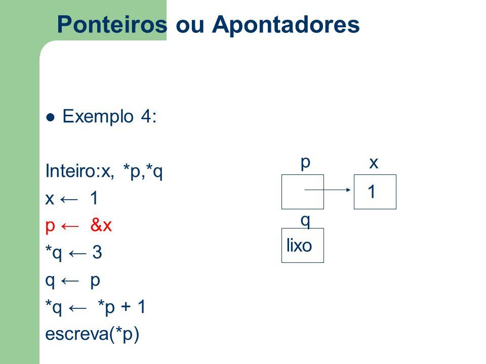Ponteiros ou Apontadores Exemplo 4: Inteiro:x, *p,*q x ← 1 p ← &x *q ← 3 q ← p *q ← *p + 1 escreva(*p) p x q 1 lixo