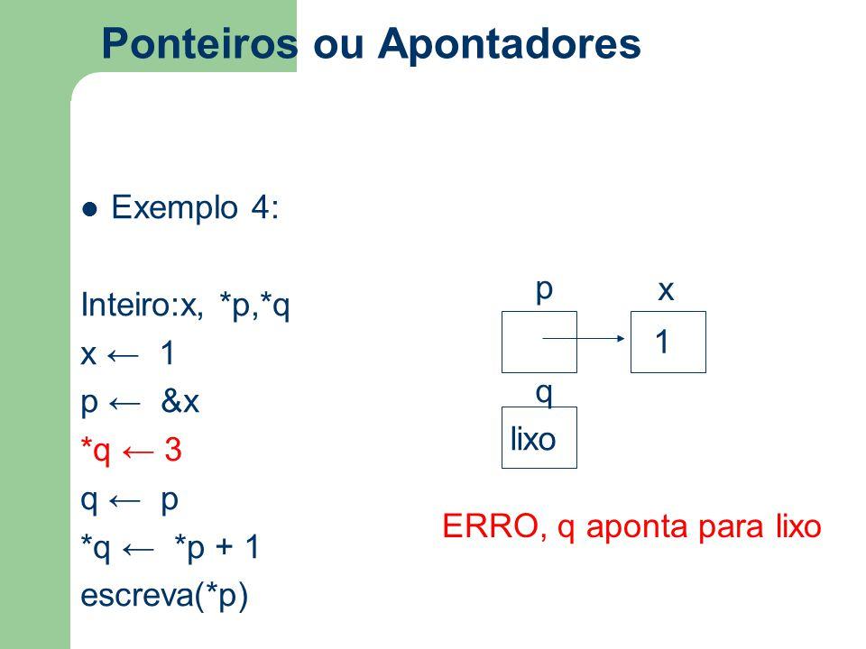 Ponteiros ou Apontadores Exemplo 4: Inteiro:x, *p,*q x ← 1 p ← &x *q ← 3 q ← p *q ← *p + 1 escreva(*p) p x q 1 lixo ERRO, q aponta para lixo