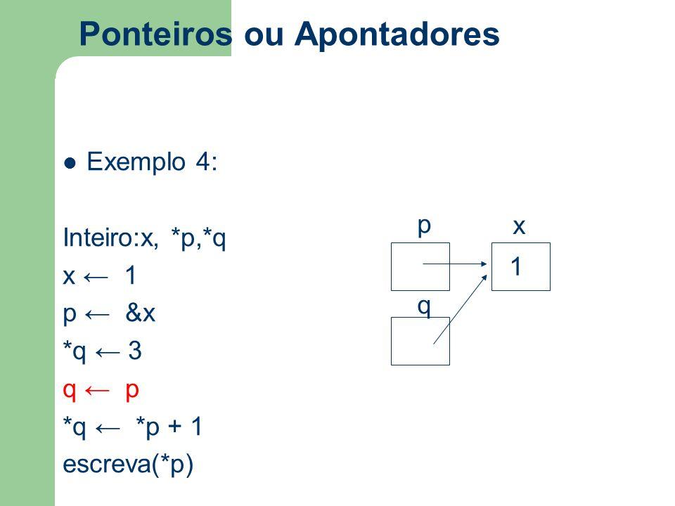 Ponteiros ou Apontadores Exemplo 4: Inteiro:x, *p,*q x ← 1 p ← &x *q ← 3 q ← p *q ← *p + 1 escreva(*p) p x q 1