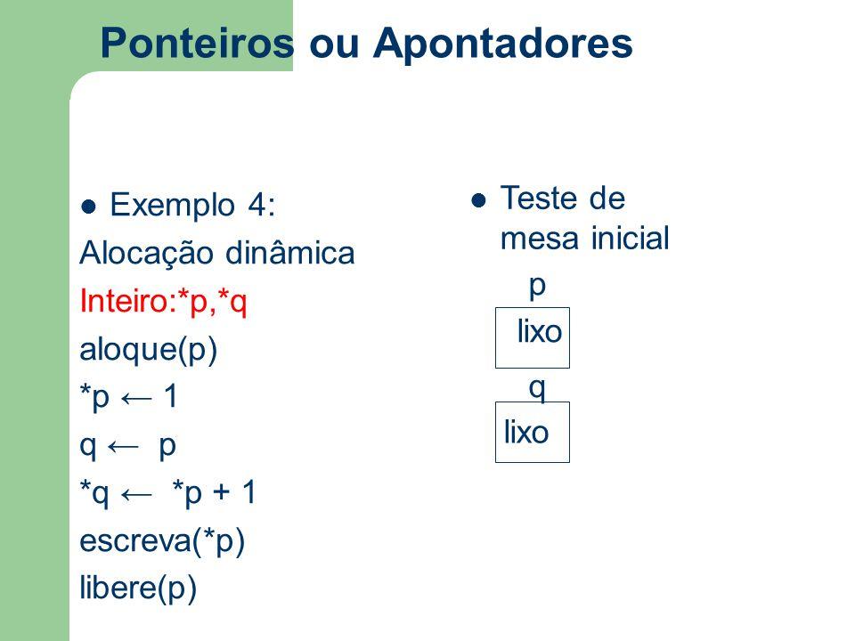 Ponteiros ou Apontadores Exemplo 4: Alocação dinâmica Inteiro:*p,*q aloque(p) *p ← 1 q ← p *q ← *p + 1 escreva(*p) libere(p) Teste de mesa inicial p q