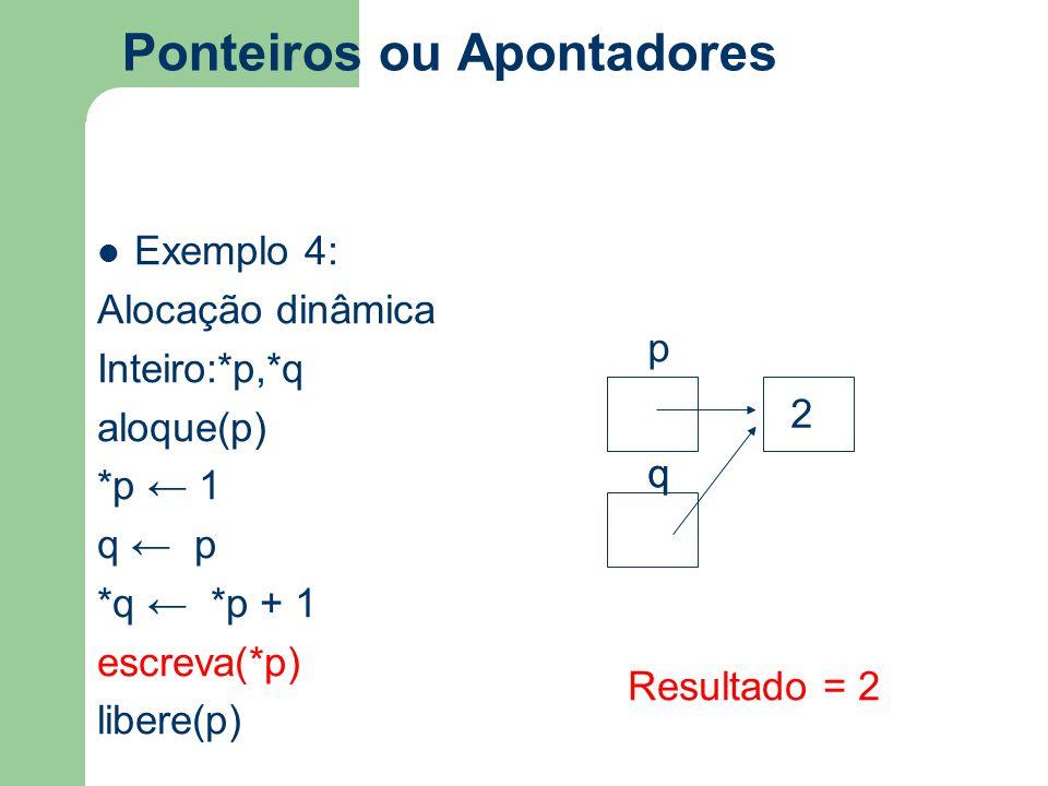 Ponteiros ou Apontadores Exemplo 4: Alocação dinâmica Inteiro:*p,*q aloque(p) *p ← 1 q ← p *q ← *p + 1 escreva(*p) libere(p) Resultado = 2 q p q 2