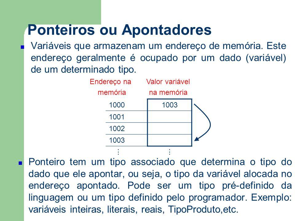 Ponteiros ou Apontadores Exemplo 4: Alocação dinâmica Inteiro:*p,*q aloque(p) *p ← 1 q ← p *q ← *p + 1 escreva(*p) libere(p) Para evitar accidentes acrescente: q ← nulo p ← nulo