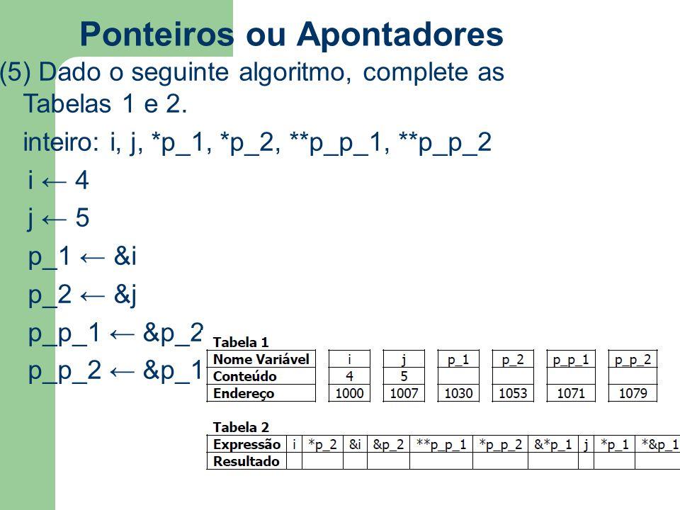 Ponteiros ou Apontadores (5) Dado o seguinte algoritmo, complete as Tabelas 1 e 2. inteiro: i, j, *p_1, *p_2, **p_p_1, **p_p_2 i ← 4 j ← 5 p_1 ← &i p_
