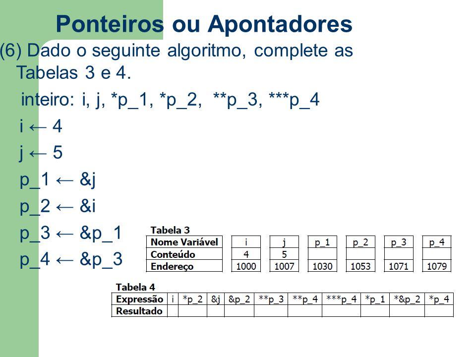 Ponteiros ou Apontadores (6) Dado o seguinte algoritmo, complete as Tabelas 3 e 4. inteiro: i, j, *p_1, *p_2, **p_3, ***p_4 i ← 4 j ← 5 p_1 ← &j p_2 ←