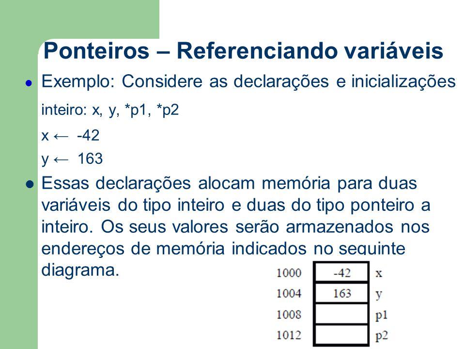Ponteiros – Referenciando variáveis Exemplo: Considere as declarações e inicializações inteiro: x, y, *p1, *p2 x ← -42 y ← 163 Essas declarações aloca