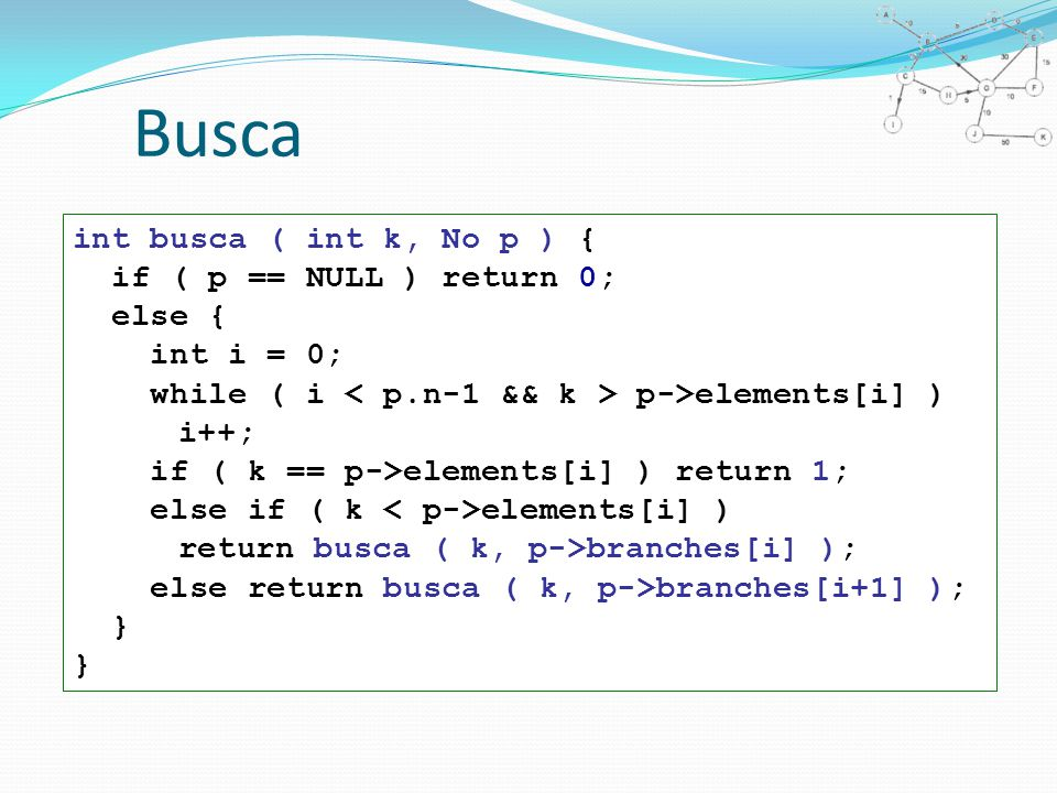 Busca int busca ( int k, No p ) { if ( p == NULL ) return 0; else { int i = 0; while ( i p->elements[i] ) i++; if ( k == p->elements[i] ) return 1; else if ( k elements[i] ) return busca ( k, p->branches[i] ); else return busca ( k, p->branches[i+1] ); } }