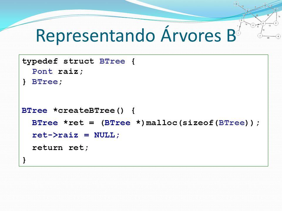 Representando Árvores B typedef struct BTree { Pont raiz; } BTree; BTree *createBTree() { BTree *ret = (BTree *)malloc(sizeof(BTree)); ret->raiz = NULL; return ret; }