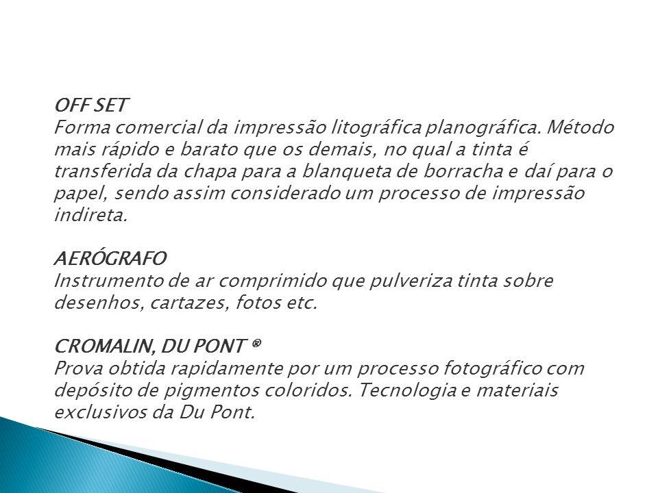 OFF SET Forma comercial da impressão litográfica planográfica. Método mais rápido e barato que os demais, no qual a tinta é transferida da chapa para