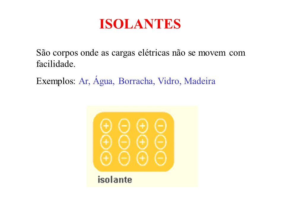 ISOLANTES São corpos onde as cargas elétricas não se movem com facilidade.