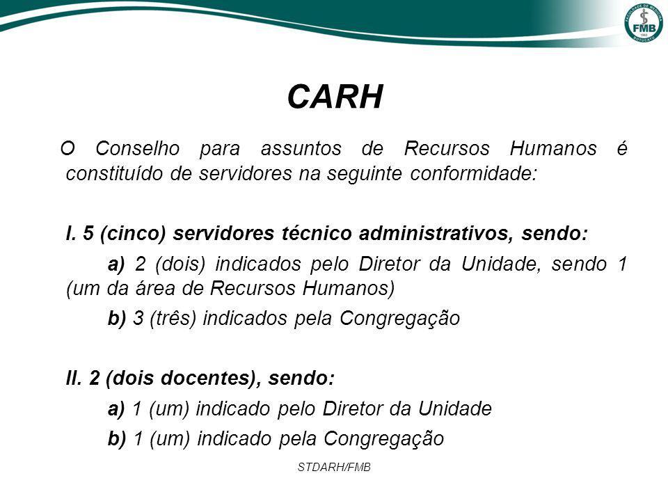 STDARH/FMB CARH O Conselho para assuntos de Recursos Humanos é constituído de servidores na seguinte conformidade: I.