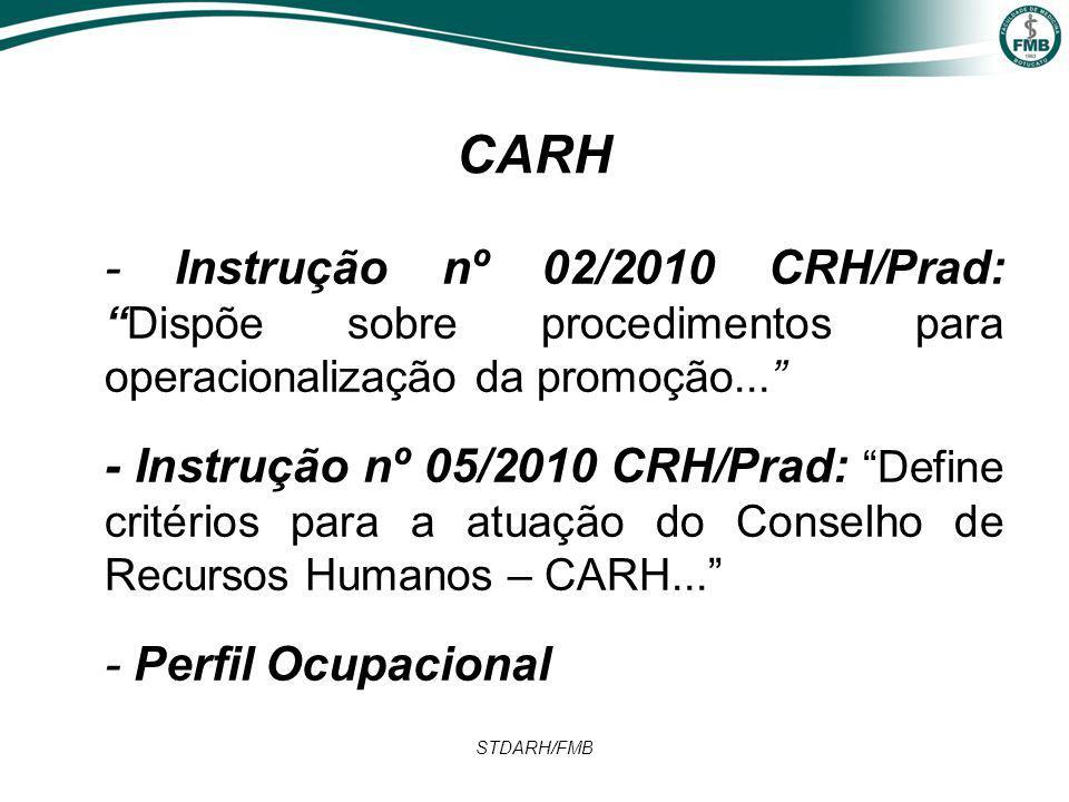 STDARH/FMB CARH - Instrução nº 02/2010 CRH/Prad: Dispõe sobre procedimentos para operacionalização da promoção... - Instrução nº 05/2010 CRH/Prad: Define critérios para a atuação do Conselho de Recursos Humanos – CARH... - Perfil Ocupacional